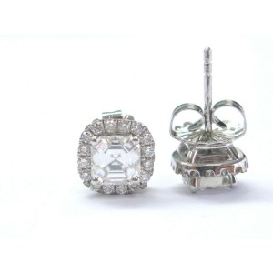 Asscher & Round Diamond Halo Stud Earrings Solid White Gold 18Kt 2.47Ct EGLUSA