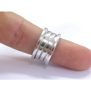 Bulgari B Zero 18Kt 10mm Ring White Gold Size 55