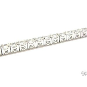 "Natural Round Cut Diamond White Gold Tennis Bracelet 7"" 10.01CT 42-Stones 18Kt"