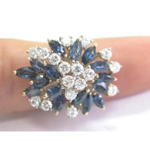 Natural Gem Blue Sapphire Diamond Cluster Yellow Gold Jewelry Ring 4.50Ct
