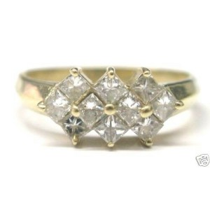 Cluster Natural Princess Cut Diamond Solid Yellow Gold Jewelry Ring 14Kt 1.00Ct