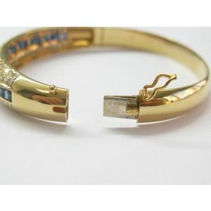 Blue Sapphire & Diamond Bangle Three Row 18Kt Yellow Gold 4.50Ct