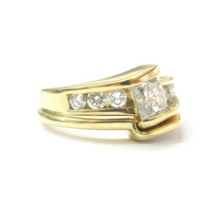 Princess Cut Diamond Engagement Set Tension Setting 18Kt Yellow Gold 1.50Ct