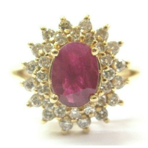 Oval Ruby & Diamond Cocktail Ring 14Kt Solid Yellow Gold 2.40Ct SIZEABLE