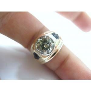 NATURAL Fancy Yellow Diamond Sapphire Jewelry Ring SOLID Yellow Gold 5.02CT