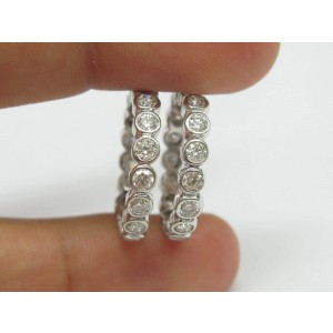 NATURAL Round Diamond Bezel Set Solid White Gold Eternity Bands 14Kt 3.40CT SZ7