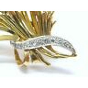 Fine 18Kt Vintage Diamond Basket Pin / Brooch 1.15CT