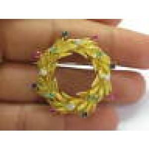 18Kt Multi Gem & Diamond Pin / Brooch Yellow Gold 1.00CT