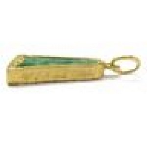 22KT Green Jade Pendant Solid Yellow Gold VINTAGE