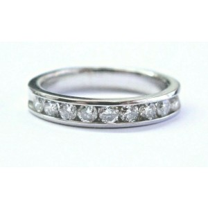 Natural Round Cut Diamond 9-Stone Channel Set White Gold Band Ring .50Ct 10KT