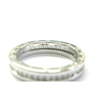 Bulgari B.Zero 1 Diamond Ring 18Kt White Gold Size 62 US 10 .80Ct