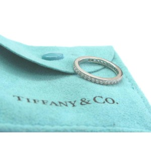 Tiffany & Co Platinum Legacy Diamond Milgrain Band Ring Size 5