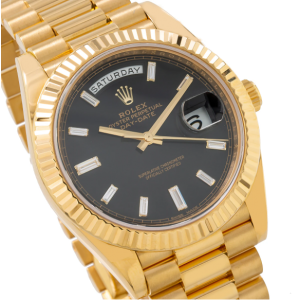 ROLEX DAY DATE 40 YELLOW GOLD WATCH WITH FACTORY BLACK DIAMOND DIAL 228238