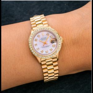 ROLEX DATEJUST LADY PRESIDENT WATCH YELLOW GOLD, DIAMOND BEZEL, PINK DIAL 6517