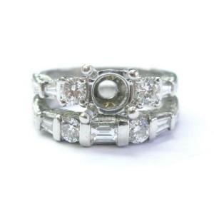 Platinum/18Kt Coast Designer Diamond Wedding Ring Set Mounting .93Ct