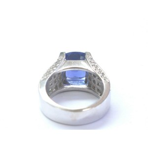 Cushion Tanzanite & Diamond Ring Solid 18Kt White Gold 7.08Ct AAAA/VS SIZEABLE