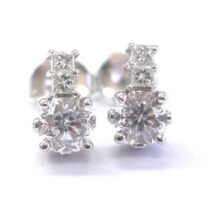 18kt Octagon & Princess Cut Diamond White Gold Stud Earrings 1.02Ct