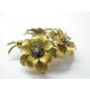 Tiffany & Co Blue Sapphire Flower Brooch 18Kt Yellow Gold 2""