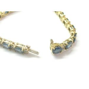 "Natural Ceylon Sapphire & Diamond Yellow Gold Tennis Bracelet 6.75"" 19.20Ct 14Kt"