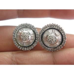 18Kt Multi Shape NATURAL Diamond Circle White Gold Huggie Earrings 1.35CT