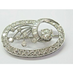 Vintage Old European & Baguette Diamond White Gold Pin/Brooch 5.55Ct