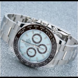 Rolex Platinum Daytona Ice Blue Men's Silver Hour Marker Watch - 116506