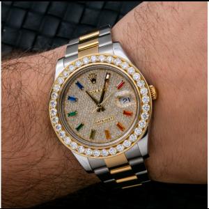 ROLEX DATEJUST II TWO TONE WATCH DIAMOND DIAL DIAMOND BEZEL YELLOW GOLD 116333
