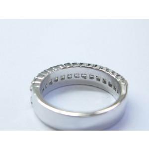 18K Princess & Round Cut Diamond White Gold Band Ring 5mm .79Ct