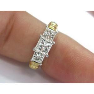 Platinum / 18Kt 3-Stone Princess Cut Diamond Engagement