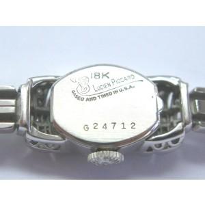 "Lucien Piccard 18Kt Vintage Diamond White Gold Watch 6.5"" .44Ct"
