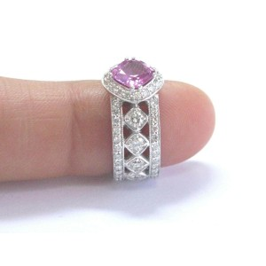 NATURAL 18Kt Cushion Pink Sapphire Diamond WIDE WG Jewelry Ring 2.99Ct UNHEATED