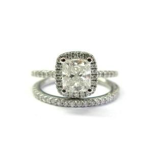 Cushion Diamond Engagement Set 14Kt White Gold 1.70Ct F-VVS2 GIA