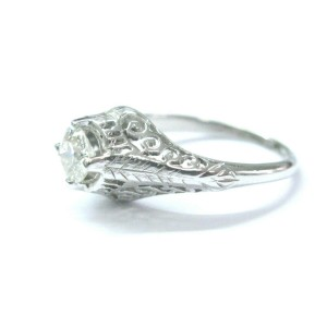 Vintage Old European Diamond Solitaire Engagement Ring White Gold .55Ct F-VS2