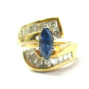 Marquise Blue Sapphire & Diamond Ring 18Kt Yellow Gold 2.20Ct