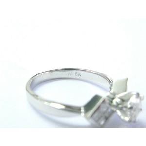 Round & Princess Cut Diamond Engagement Ring 18Kt White Gold .90Ct