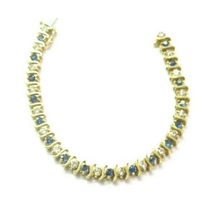 "Ceylon Sapphire Diamond Yellow Gold Tennis Bracelet 14Kt 35-Stones 7"" 5.60CT"