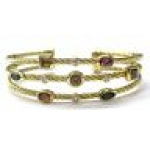 David Yurman 18Kt Multi Gem & Diamond 3-Row Cuff Bracelet Yellow Gold