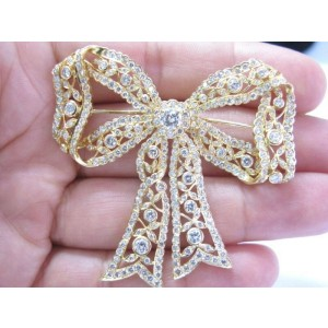 SOLID 18Kt Ribbon NATURAL Diamond Pin / Brooch Yellow Gold 7.26CT