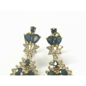 Ceylon Sapphire & Diamond Drop Earrings Solid Yellow Gold Leverback 14Kt 13.85Ct