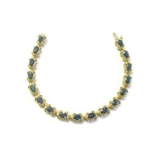 "Oval Blue Sapphire Yellow Gold Tennis Bracelet 17-Stones 14Kt 7"" 8.50Ct"