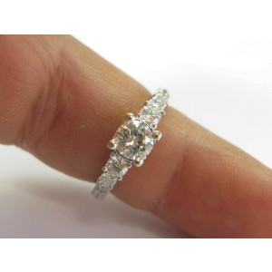Natural Round Diamond White Gold Milgrain Engagement Ring 1.47Ct 14KT