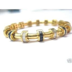 Charles Krypell Diamond Sapphire 18KT Yellow Gold Bracelet