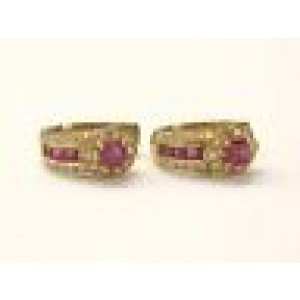 18Kt Gem Ruby Diamond Earrings + Ring Yellow Gold 3.20CT