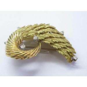Tiffany & Co 18Kt Stylized Oak Leaves Yellow Gold Diamond Brooch .66Ct