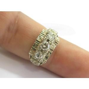 Vintage Three Stone Diamond Ring 14Kt Yellow Gold .62Ct