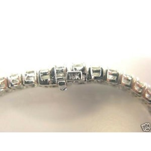 Natural Emerald Cut Diamond Tennis Bracelet White Gold 18KT 14.75Ct 51-Stones