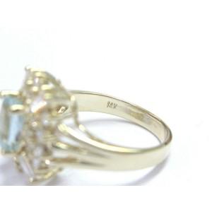 Fine Gem Aquamarine & Diamond Yellow Gold Jewelry Ring 14KT 2.05Ct