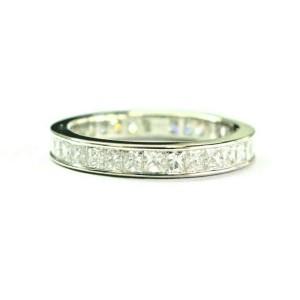 Princess Cut Diamond Eternity Band 18Kt White Gold Size 6 3mm 1.70Ct