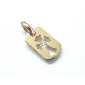 "Chrome Hearts 22Kt Diamond Rose Gold Pendant 3/4"""