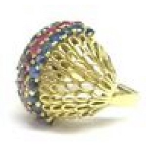 18Kt Gem Sapphire Ruby Designer Jewelry Ring Yellow Gold 2.20CT